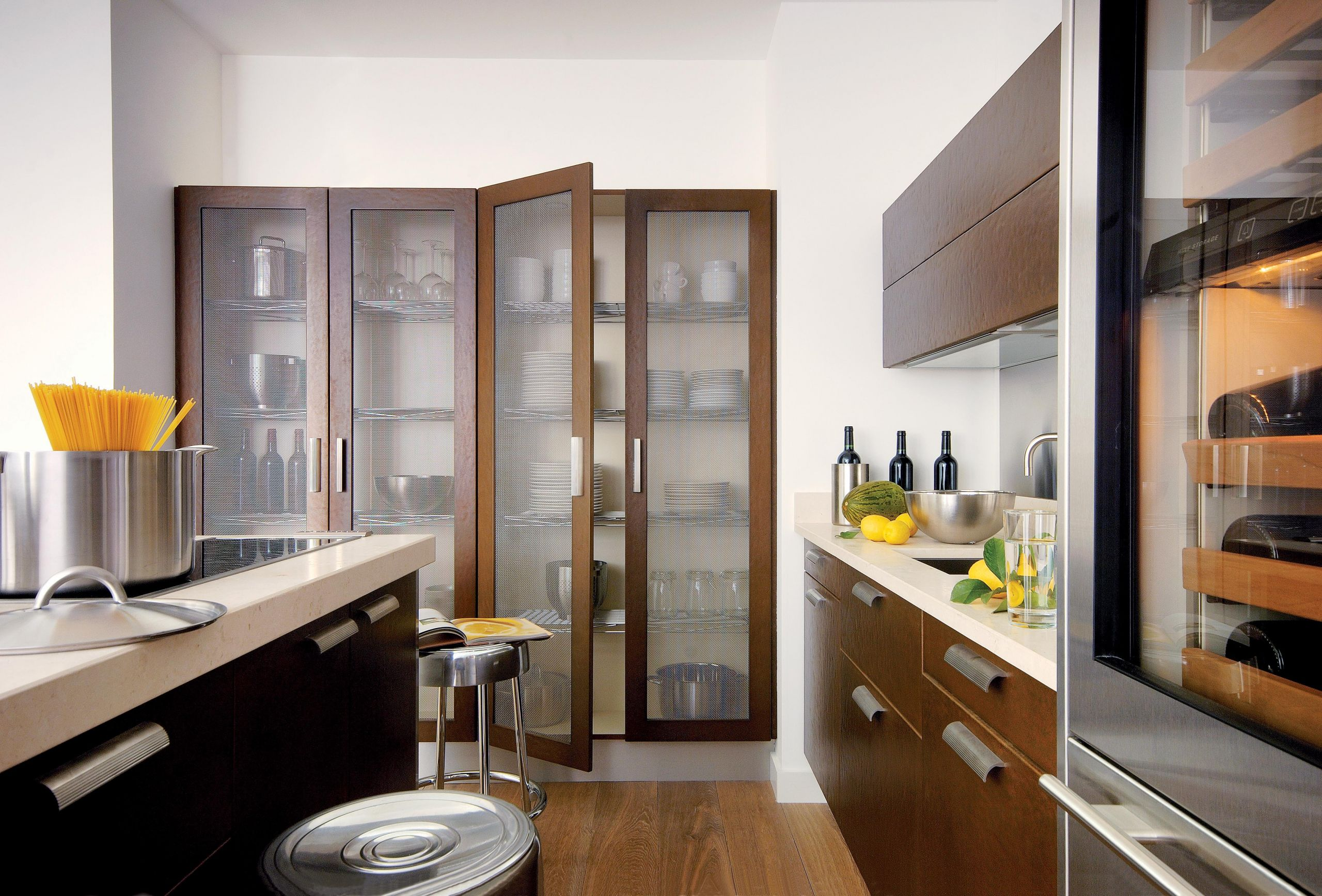 A bold kitchen with cool metallic elements and robust textures